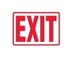 Exit Sign with red lettering and white background, OSHA-compliant